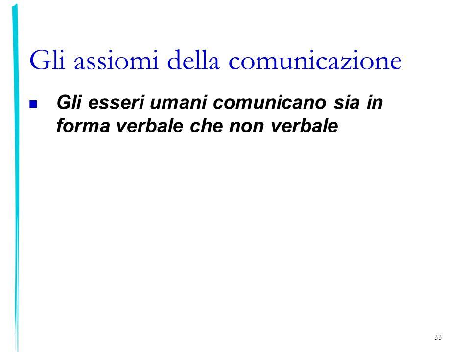 33 Gli assiomi della comunicazione Gli esseri umani comunicano sia in forma verbale che non verbale