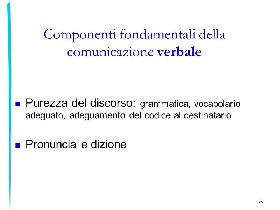 36 Componenti fondamentali della comunicazione verbale Purezza del discorso: grammatica, vocabolario adeguato, adeguamento del codice al destinatario
