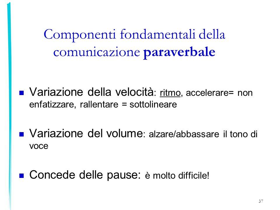 37 Componenti fondamentali della comunicazione paraverbale Variazione della velocità : ritmo, accelerare= non enfatizzare, rallentare = sottolineare V