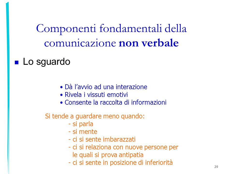 39 Componenti fondamentali della comunicazione non verbale Lo sguardo Dà lavvio ad una interazione Rivela i vissuti emotivi Consente la raccolta di in