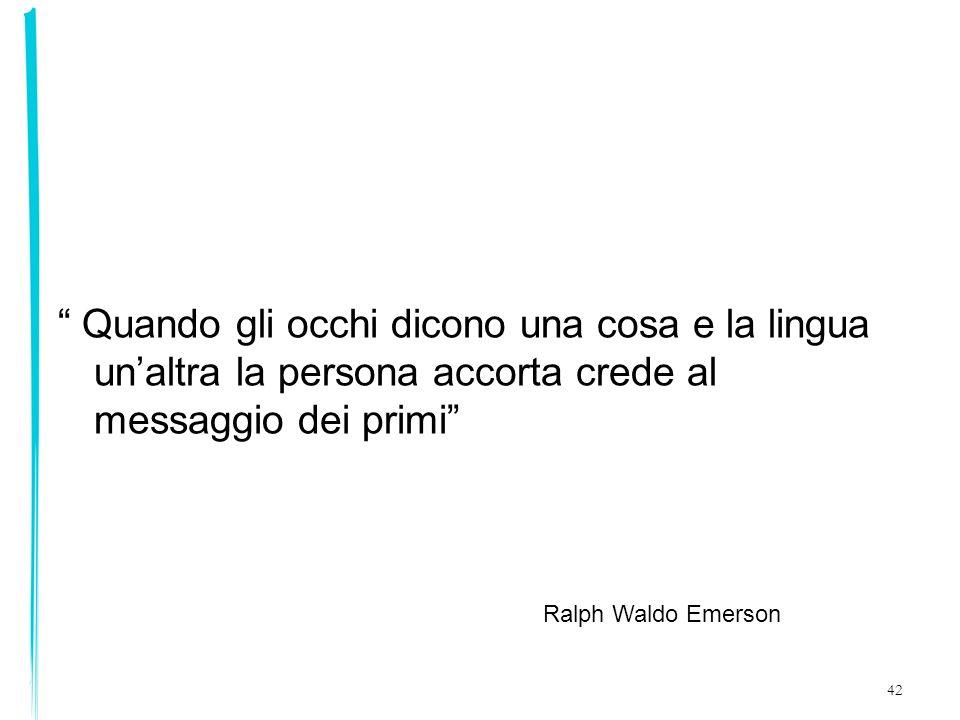 42 Quando gli occhi dicono una cosa e la lingua unaltra la persona accorta crede al messaggio dei primi Ralph Waldo Emerson