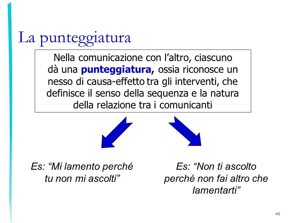 46 Nella comunicazione con laltro, ciascuno dà una punteggiatura, ossia riconosce un nesso di causa-effetto tra gli interventi, che definisce il senso