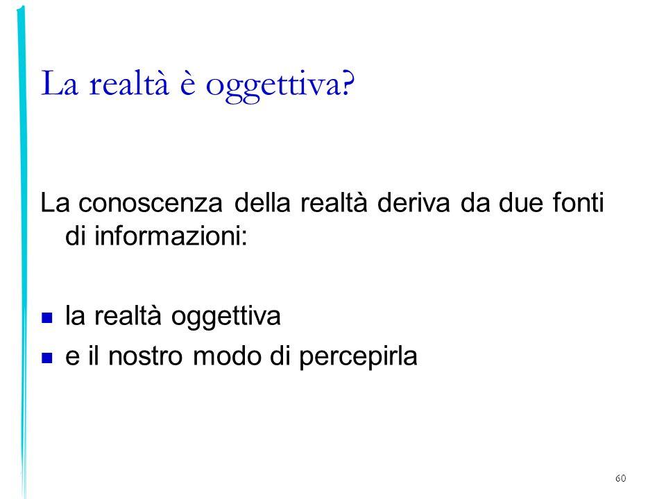 60 La realtà è oggettiva? La conoscenza della realtà deriva da due fonti di informazioni: la realtà oggettiva e il nostro modo di percepirla