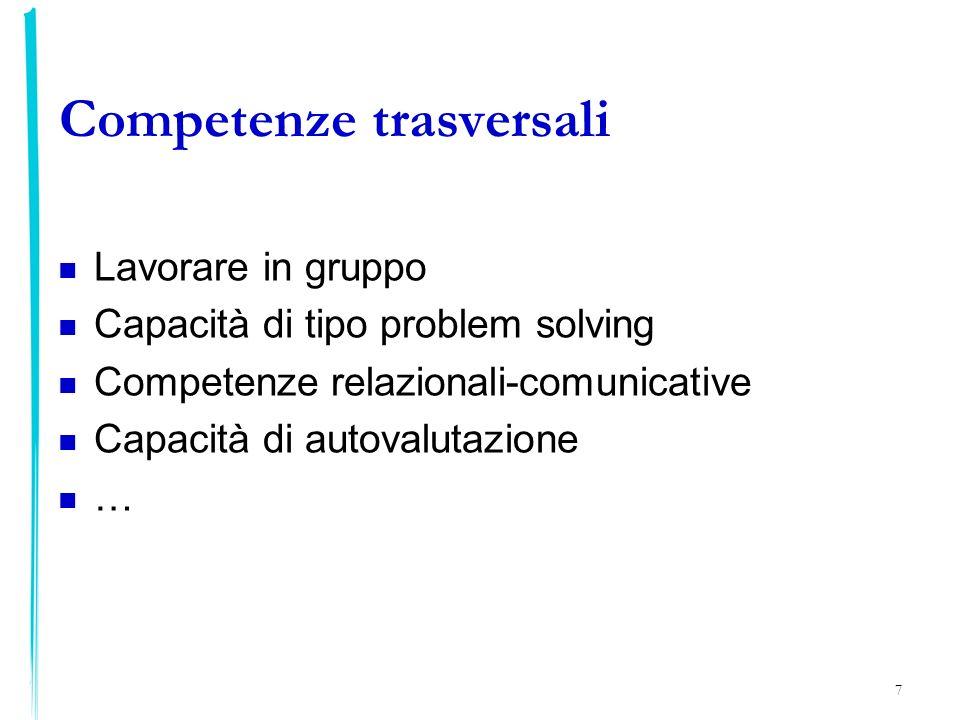 7 Competenze trasversali Lavorare in gruppo Capacità di tipo problem solving Competenze relazionali-comunicative Capacità di autovalutazione …