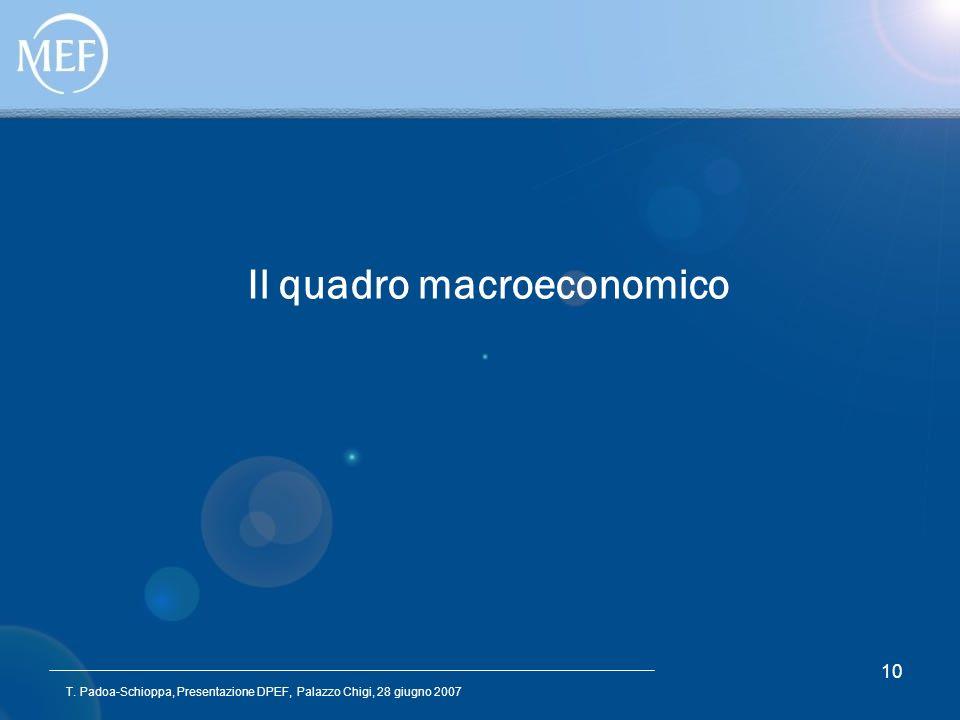 T. Padoa-Schioppa, Presentazione DPEF, Palazzo Chigi, 28 giugno 2007 10 Il quadro macroeconomico