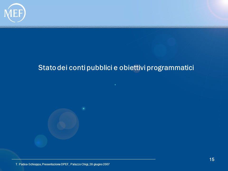 T. Padoa-Schioppa, Presentazione DPEF, Palazzo Chigi, 28 giugno 2007 15 Stato dei conti pubblici e obiettivi programmatici