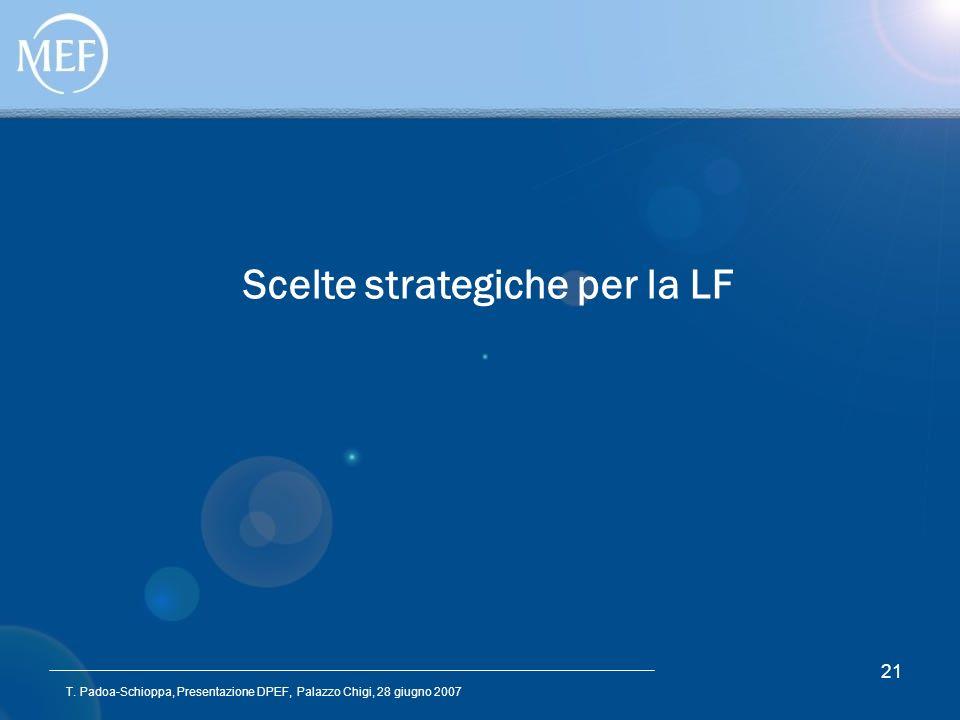 T. Padoa-Schioppa, Presentazione DPEF, Palazzo Chigi, 28 giugno 2007 21 Scelte strategiche per la LF