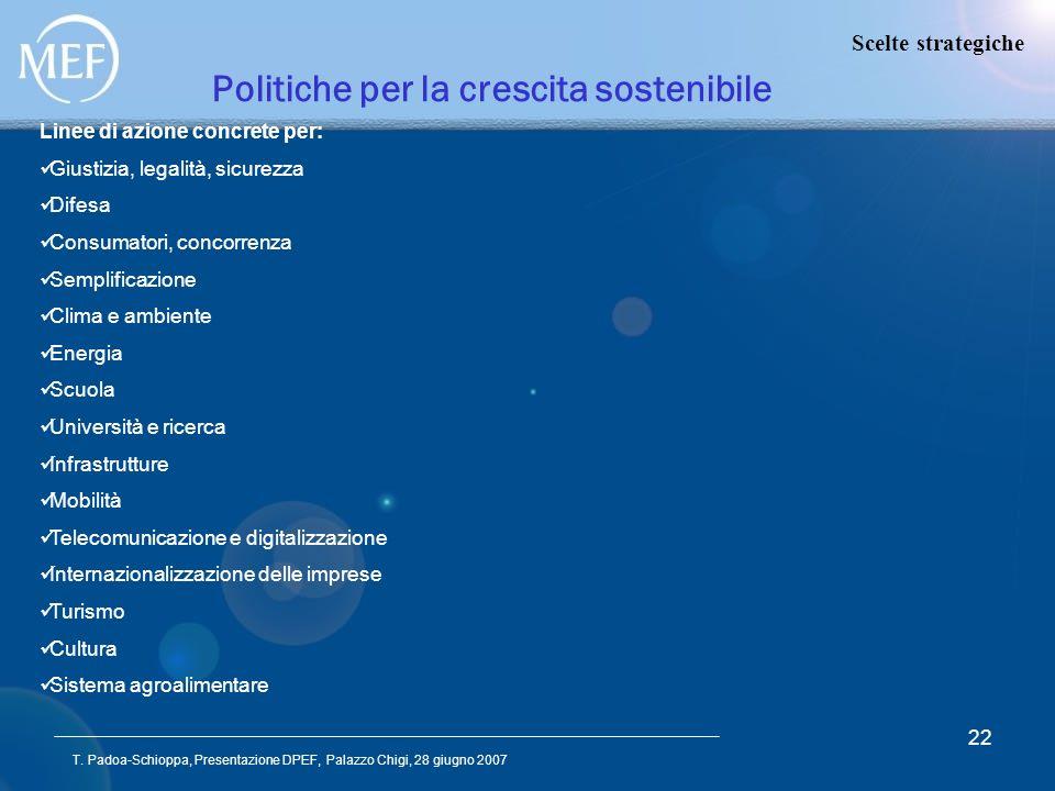 T. Padoa-Schioppa, Presentazione DPEF, Palazzo Chigi, 28 giugno 2007 22 Politiche per la crescita sostenibile Scelte strategiche Linee di azione concr