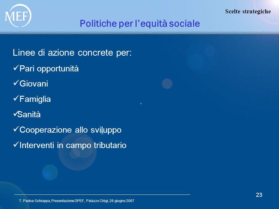 T. Padoa-Schioppa, Presentazione DPEF, Palazzo Chigi, 28 giugno 2007 23 Politiche per lequità sociale Linee di azione concrete per: Pari opportunità G