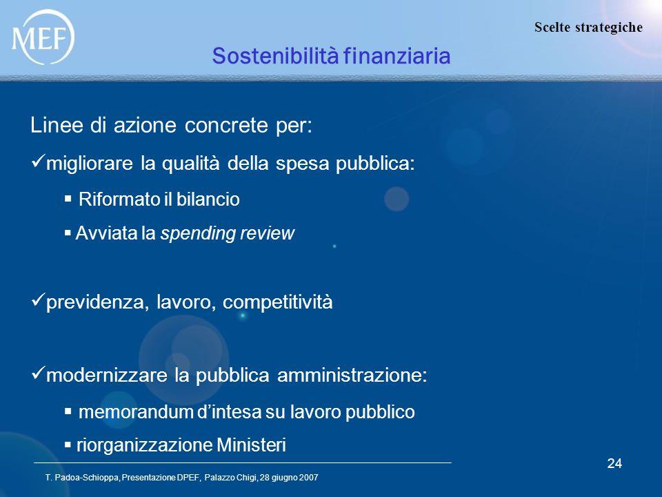 T. Padoa-Schioppa, Presentazione DPEF, Palazzo Chigi, 28 giugno 2007 24 Sostenibilità finanziaria Linee di azione concrete per: migliorare la qualità