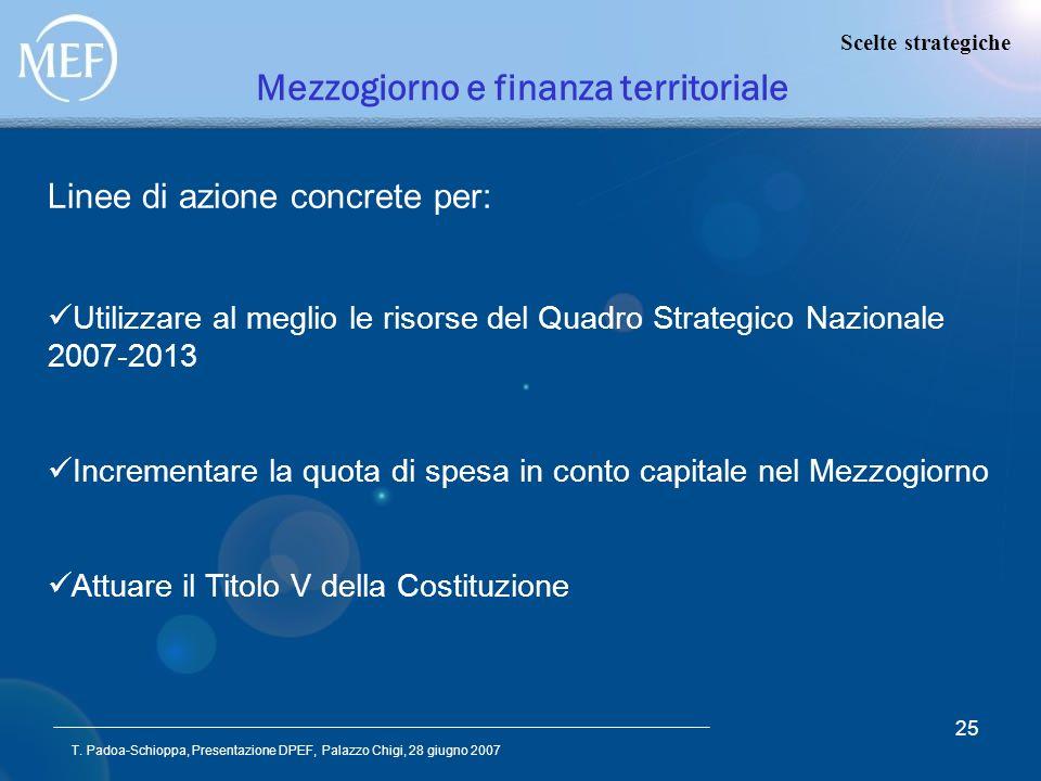 T. Padoa-Schioppa, Presentazione DPEF, Palazzo Chigi, 28 giugno 2007 25 Mezzogiorno e finanza territoriale Linee di azione concrete per: Utilizzare al