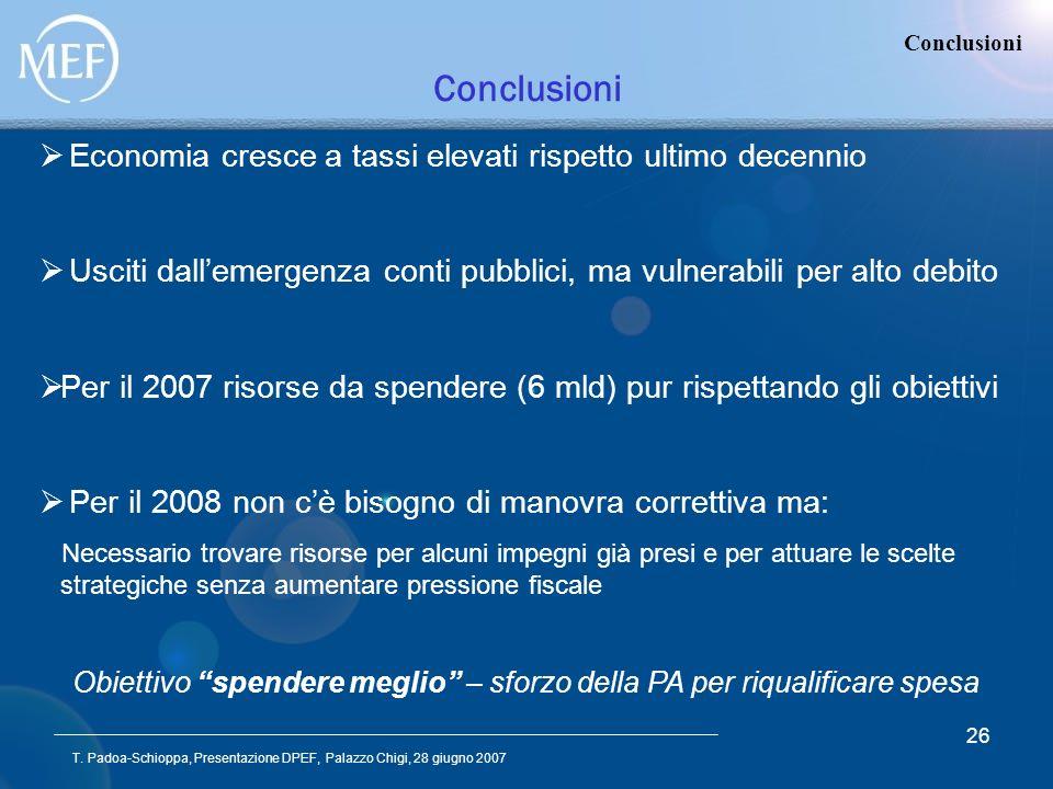T. Padoa-Schioppa, Presentazione DPEF, Palazzo Chigi, 28 giugno 2007 26 Conclusioni Economia cresce a tassi elevati rispetto ultimo decennio Usciti da