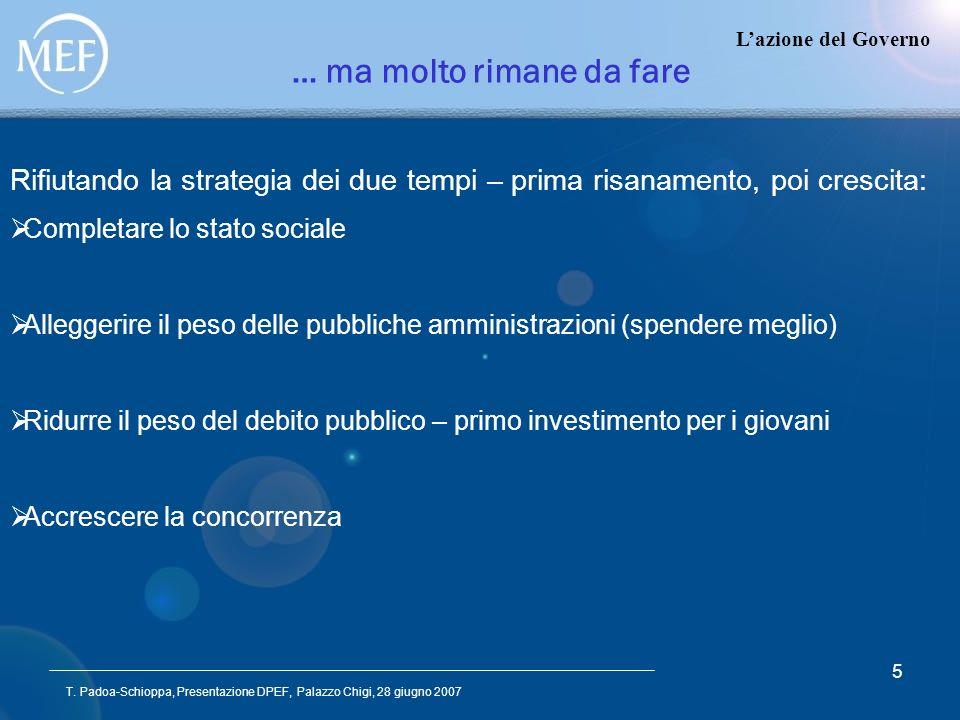 T. Padoa-Schioppa, Presentazione DPEF, Palazzo Chigi, 28 giugno 2007 5 Lazione del Governo … ma molto rimane da fare Rifiutando la strategia dei due t