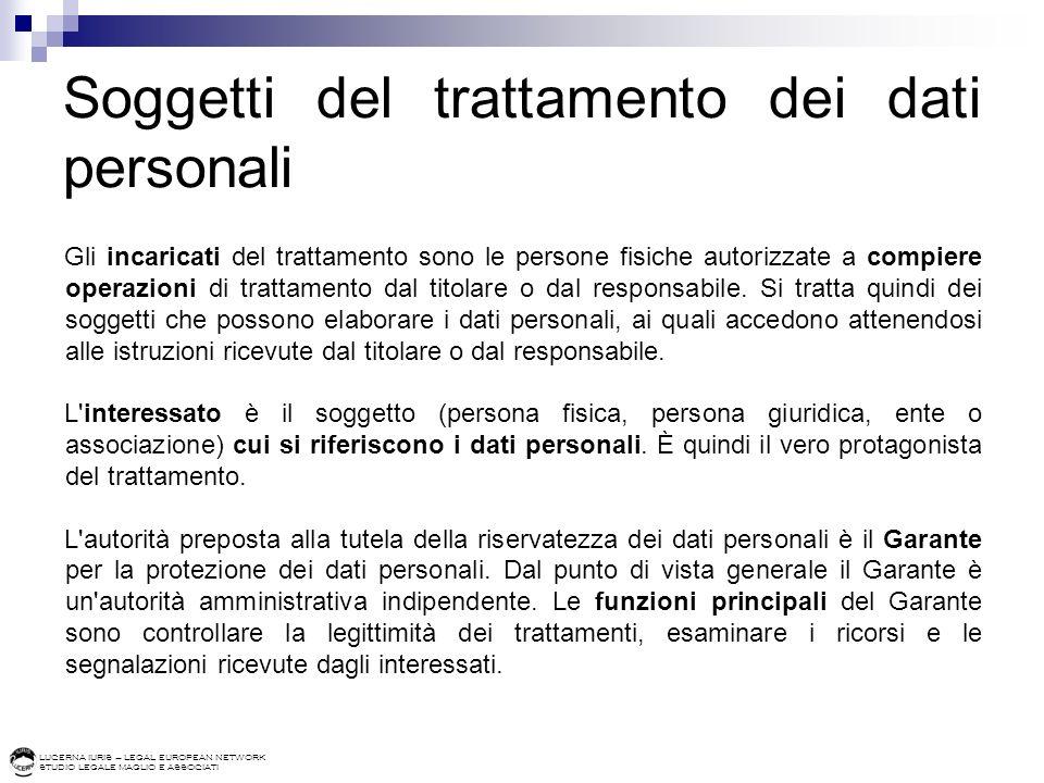 LUCERNA IURIS – LEGAL EUROPEAN NETWORK STUDIO LEGALE MAGLIO E ASSOCIATI Soggetti del trattamento dei dati personali Gli incaricati del trattamento son