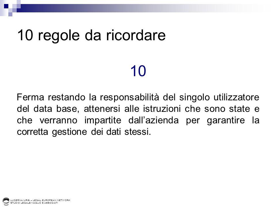 LUCERNA IURIS – LEGAL EUROPEAN NETWORK STUDIO LEGALE MAGLIO E ASSOCIATI 10 regole da ricordare 10 Ferma restando la responsabilità del singolo utilizz