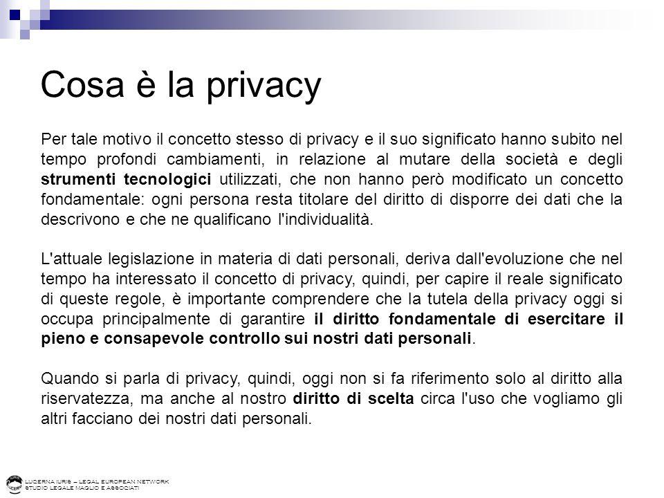 LUCERNA IURIS – LEGAL EUROPEAN NETWORK STUDIO LEGALE MAGLIO E ASSOCIATI Cosa sono i dati personali Per poter comprendere le regole a protezione della privacy occorre chiarire cosa si intende per dato personale.