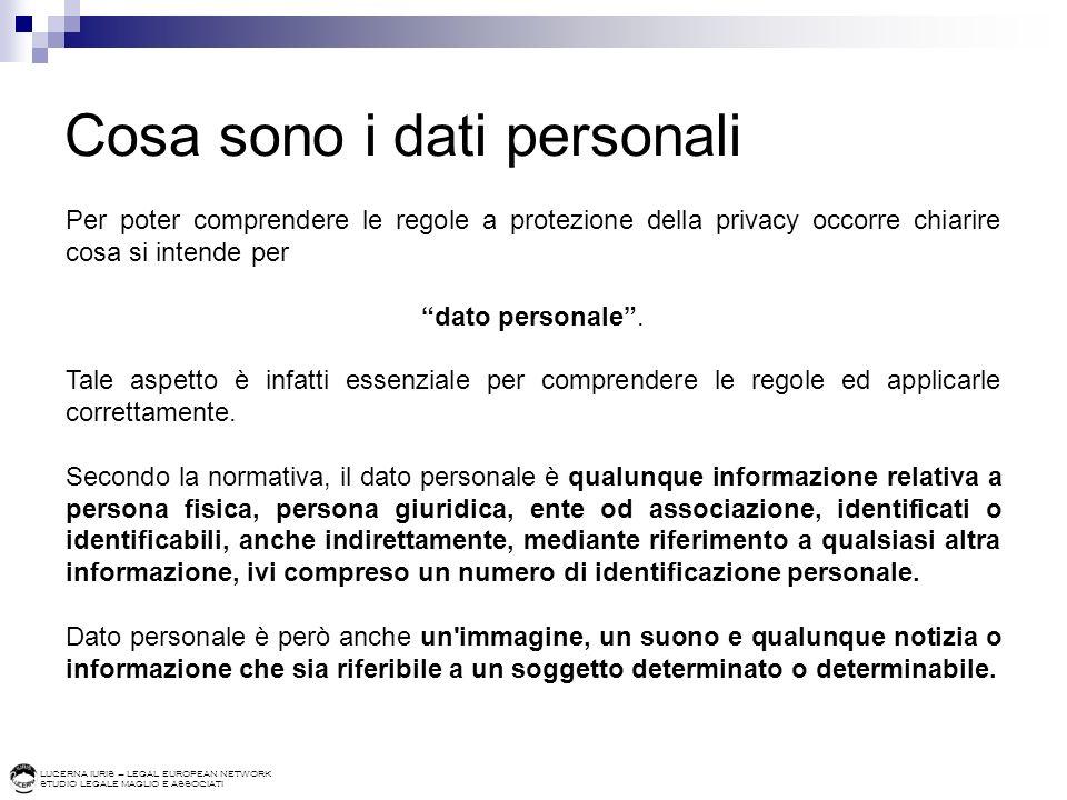 LUCERNA IURIS – LEGAL EUROPEAN NETWORK STUDIO LEGALE MAGLIO E ASSOCIATI Cosa sono i dati personali I codici identificativi, sia quelli ricavati da dati anagrafici (ad esempio il codice fiscale), che i codici univoci attribuiti a una persona in base a criteri predefiniti (ad esempio i codici cliente) sono dati personali.