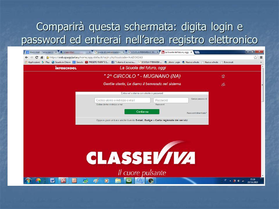 Comparirà questa schermata: digita login e password ed entrerai nellarea registro elettronico