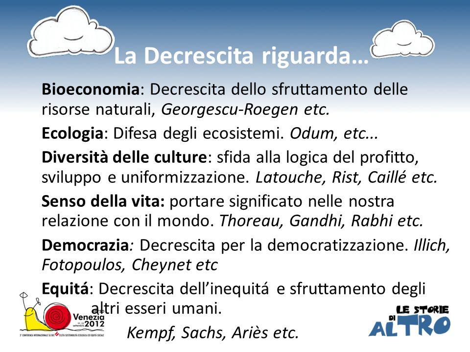 La Decrescita riguarda… Bioeconomia: Decrescita dello sfruttamento delle risorse naturali, Georgescu-Roegen etc. Ecologia: Difesa degli ecosistemi. Od