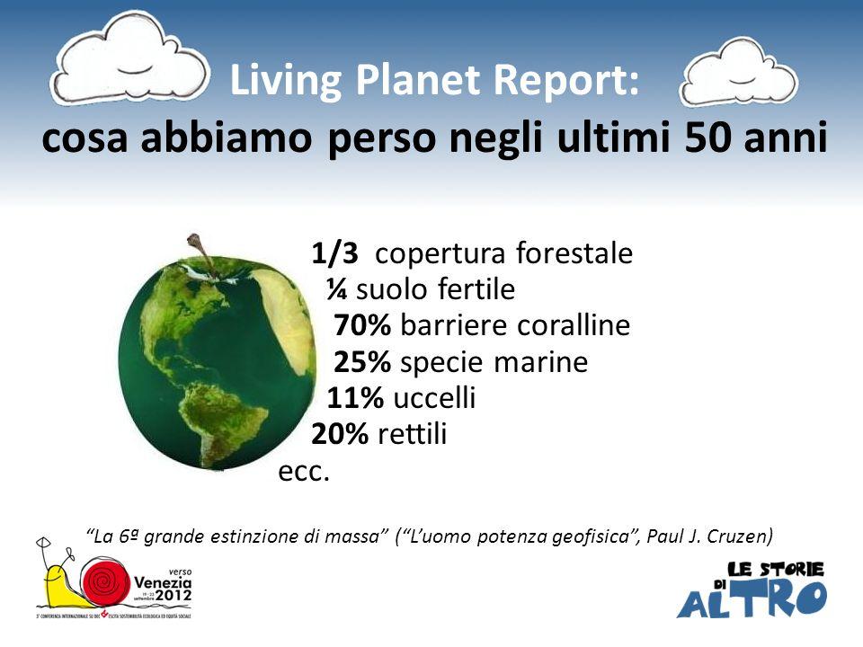 1/3 copertura forestale ¼ suolo fertile 70% barriere coralline 25% specie marine 11% uccelli 20% rettili ecc. La 6ª grande estinzione di massa (Luomo