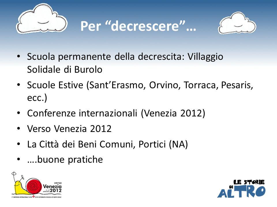 Per decrescere… Scuola permanente della decrescita: Villaggio Solidale di Burolo Scuole Estive (SantErasmo, Orvino, Torraca, Pesaris, ecc.) Conferenze