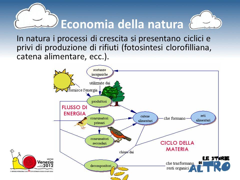 Economia della natura In natura i processi di crescita si presentano ciclici e privi di produzione di rifiuti (fotosintesi clorofilliana, catena alimentare, ecc.).