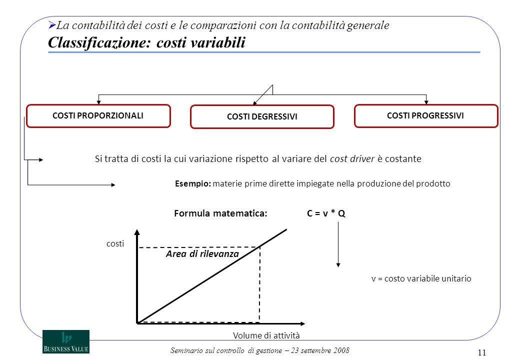 Seminario sul controllo di gestione – 23 settembre 2008 11 La contabilità dei costi e le comparazioni con la contabilità generale Classificazione: cos