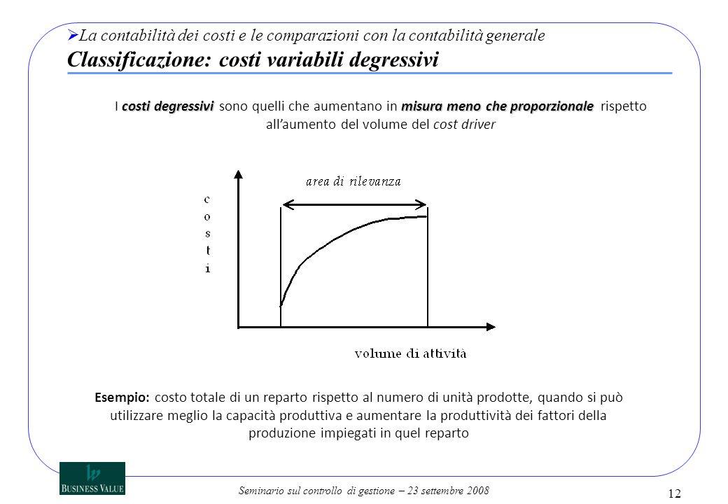 Seminario sul controllo di gestione – 23 settembre 2008 12 La contabilità dei costi e le comparazioni con la contabilità generale Classificazione: cos