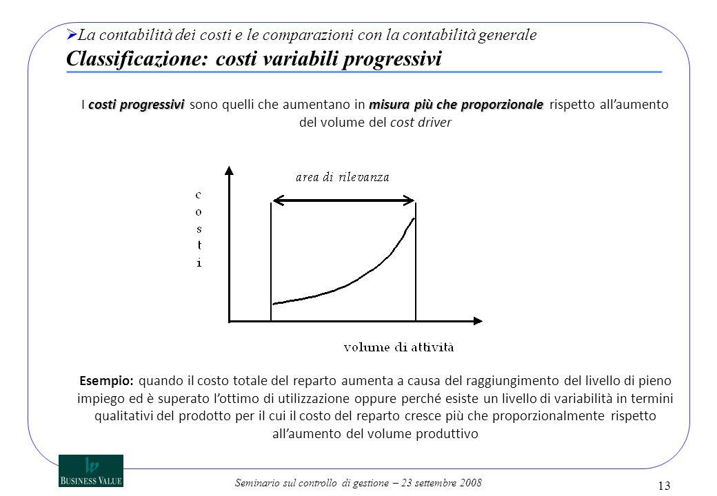 Seminario sul controllo di gestione – 23 settembre 2008 13 La contabilità dei costi e le comparazioni con la contabilità generale Classificazione: cos