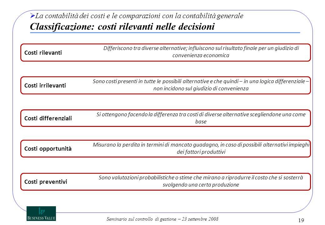 Seminario sul controllo di gestione – 23 settembre 2008 19 La contabilità dei costi e le comparazioni con la contabilità generale Classificazione: cos