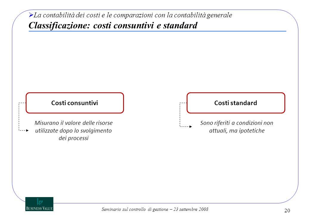 Seminario sul controllo di gestione – 23 settembre 2008 20 La contabilità dei costi e le comparazioni con la contabilità generale Classificazione: cos