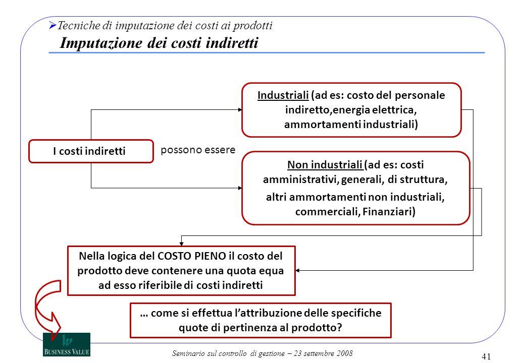Seminario sul controllo di gestione – 23 settembre 2008 I costi indiretti possono essere Industriali (ad es: costo del personale indiretto,energia ele
