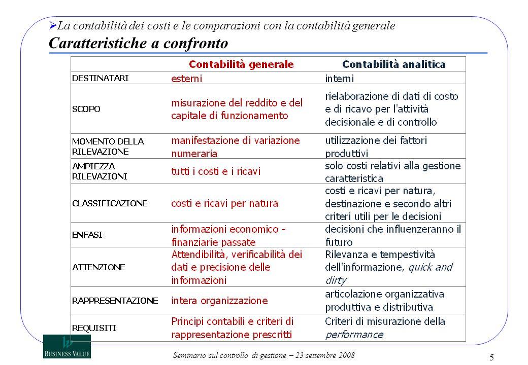 Seminario sul controllo di gestione – 23 settembre 2008 La contabilità dei costi e le comparazioni con la contabilità generale Caratteristiche a confr