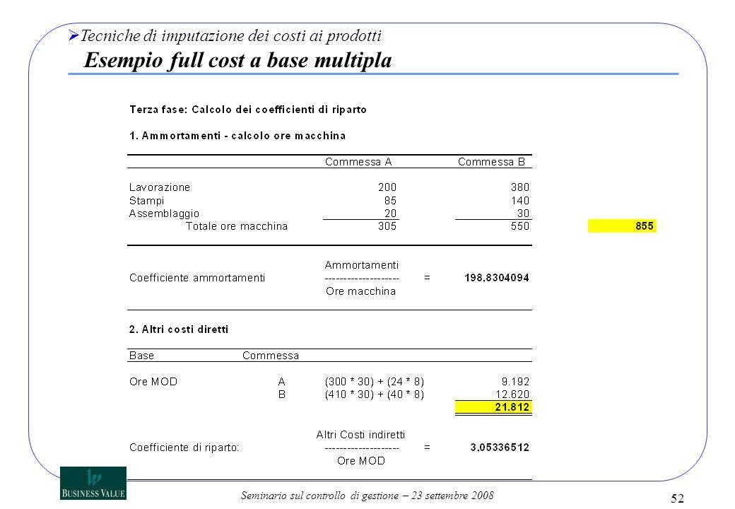 Seminario sul controllo di gestione – 23 settembre 2008 Tecniche di imputazione dei costi ai prodotti Esempio full cost a base multipla 52