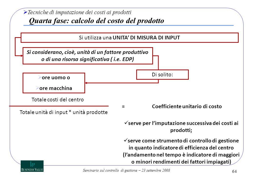 Seminario sul controllo di gestione – 23 settembre 2008 Si utilizza una UNITA DI MISURA DI INPUT Si considerano, cioè, unità di un fattore produttivo