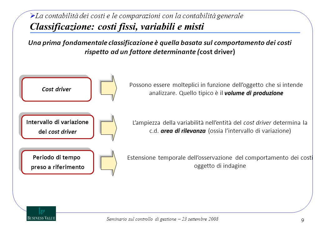 Seminario sul controllo di gestione – 23 settembre 2008 9 La contabilità dei costi e le comparazioni con la contabilità generale Classificazione: cost