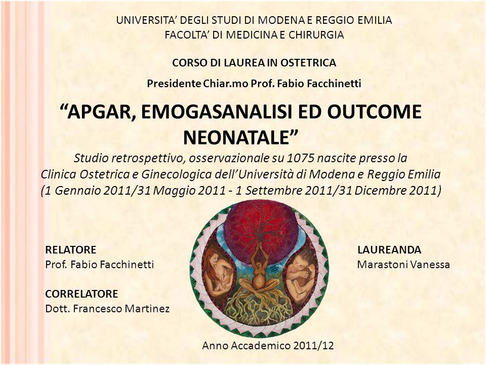 APGAR, EMOGASANALISI ED OUTCOME NEONATALE Studio retrospettivo, osservazionale su 1075 nascite presso la Clinica Ostetrica e Ginecologica dellUniversi