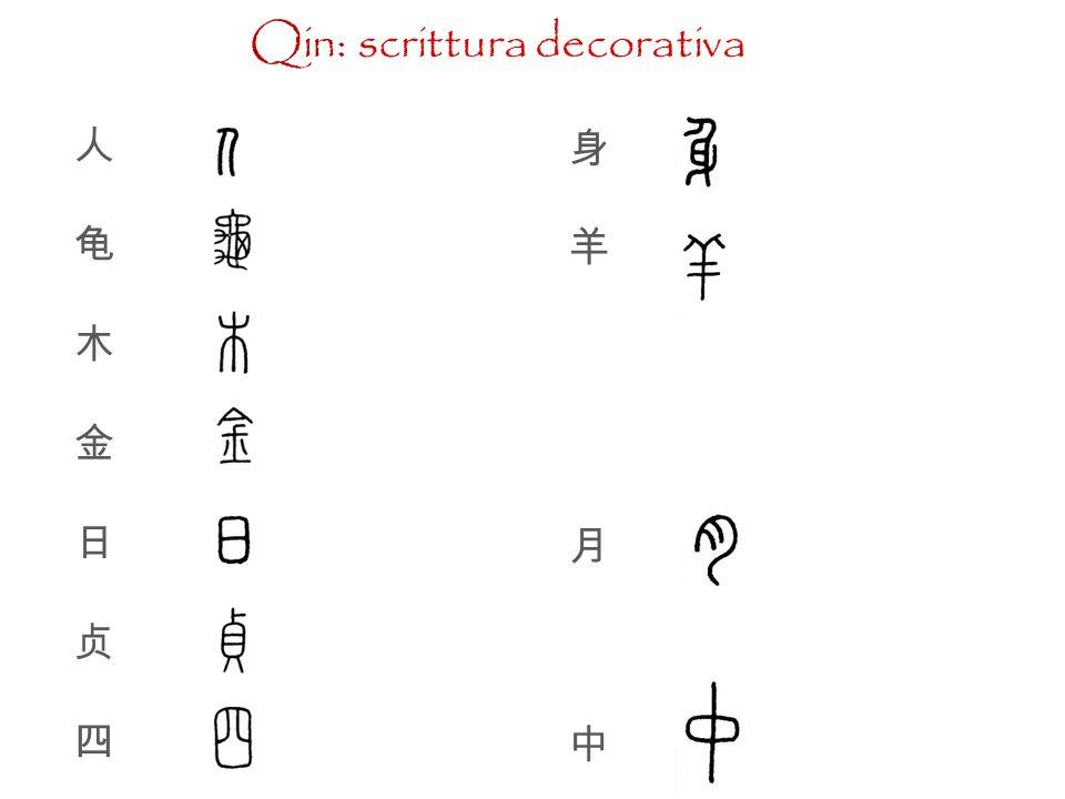 Qin (221-206 a.C.) zhuànwén o zhuànshū ; lìshū.
