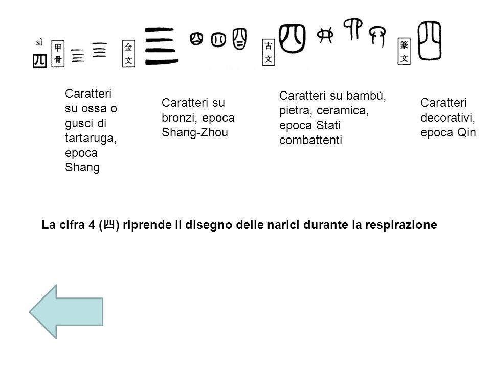 Caratteri su ossa o gusci di tartaruga, epoca Shang Caratteri su bronzi, epoca Shang- Zhou Caratteri su bambù, pietra, ceramica, epoca Stati combatten
