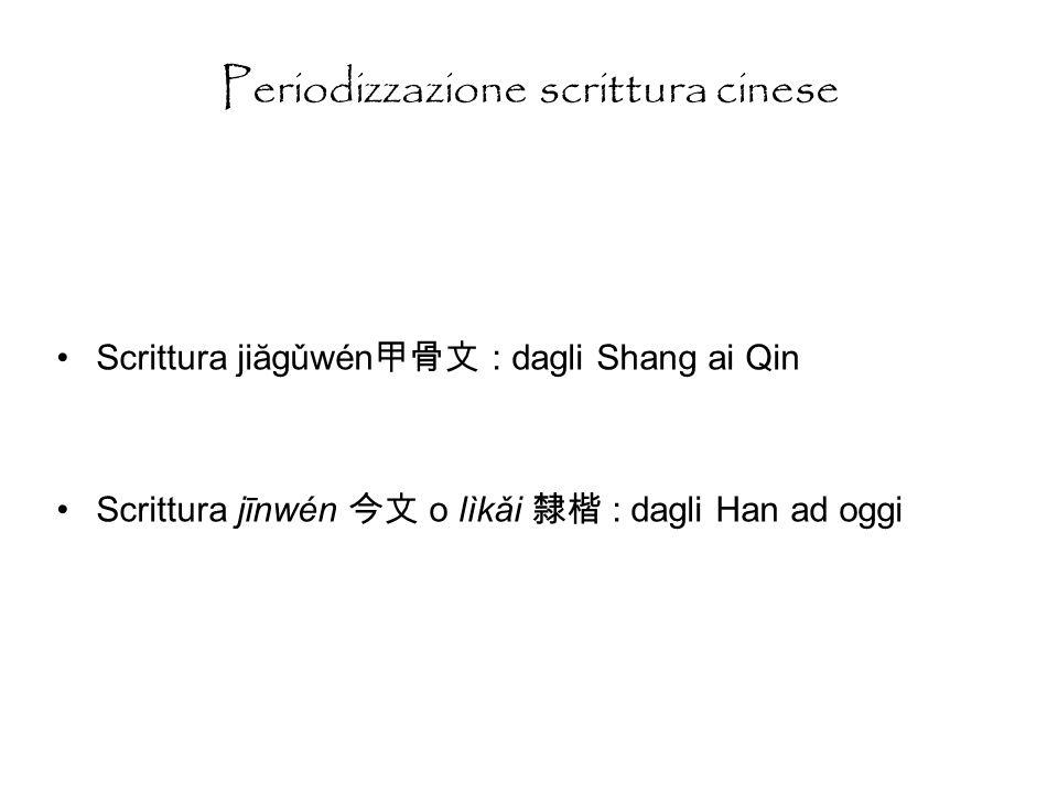 Periodizzazione scrittura cinese Scrittura jiăgǔwén : dagli Shang ai Qin Scrittura jīnwén o lìkǎi : dagli Han ad oggi