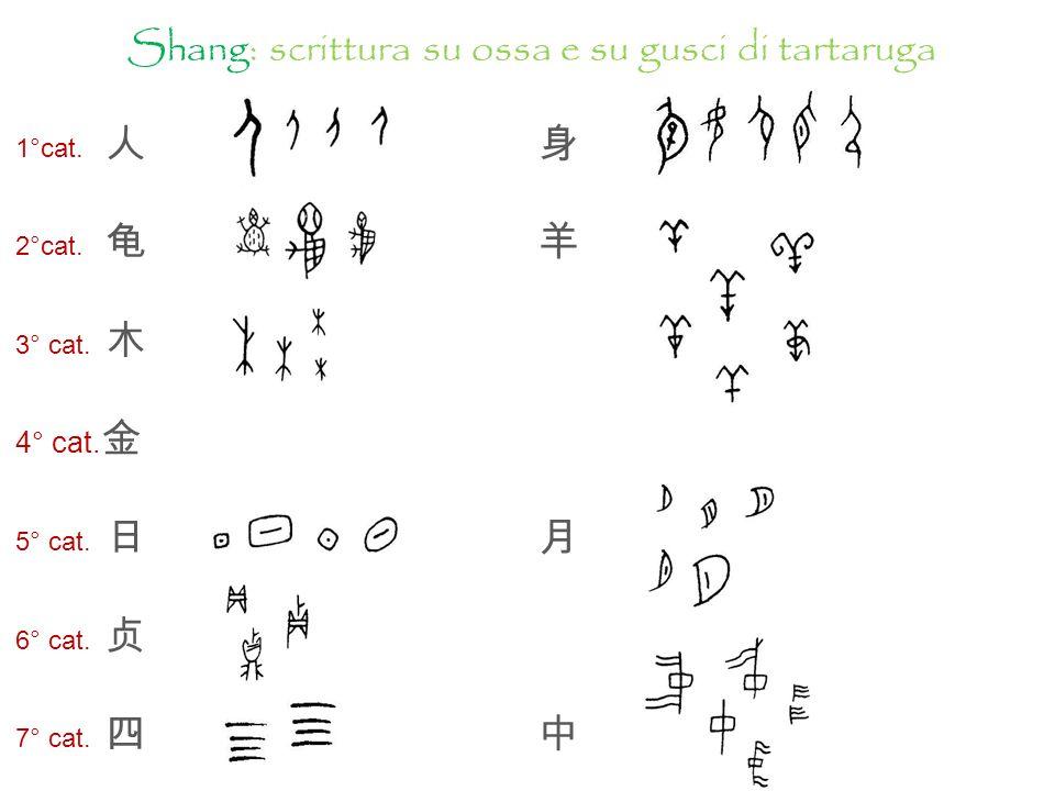 Caratteri su ossa o gusci di tartaruga, epoca Shang Caratteri su bronzi, epoca Shang-Zhou Caratteri su bambù, pietra, ceramica, epoca Stati combattenti Caratteri decorativi, epoca Qin Il radicale shēn significa «corpo» o indica unazione corporale.