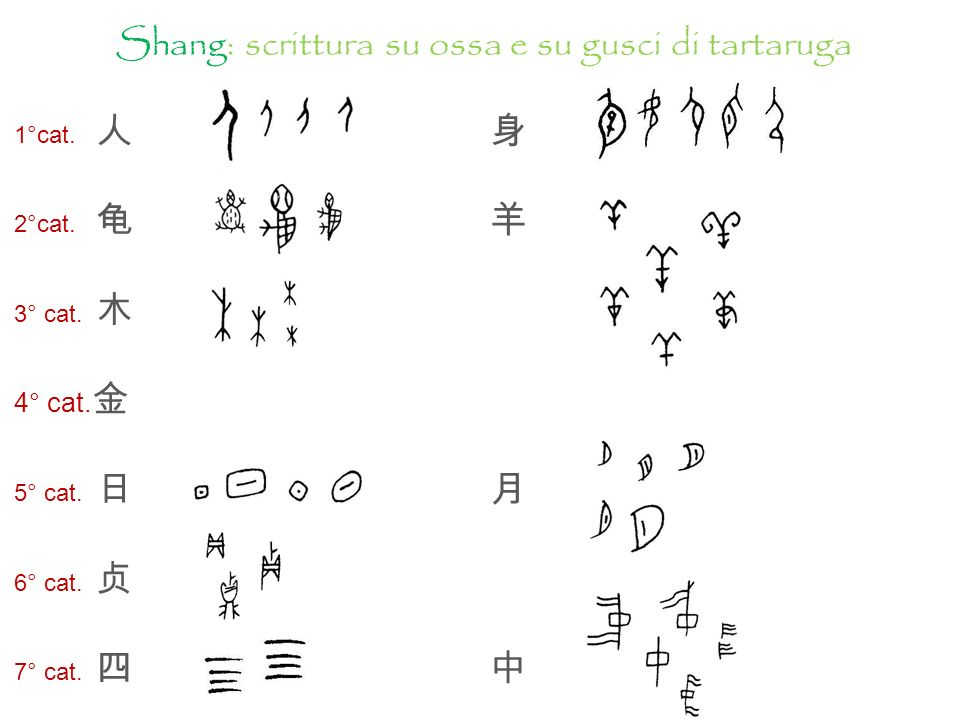 jiăgǔwén: iscrizioni su ossa oracolari (ossa di animali e gusci di tartaruga; jīnshí : iscrizioni su vasi di bronzo. Dinastia Shang (1600 a.C.-1046 a.