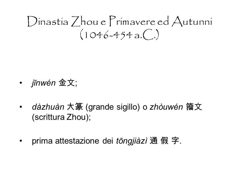 Al giorno doggi Caratteri semplificati non riconosciuti, per uso privato Es: = jiā, casa o = jiǔ, vino; Criterio di classificazione caratteri in 3 tipi: 1.xíngyízì, 2.yīnyízì (principio rebus), 3.xíngshēngzì.