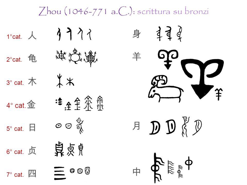 Dinastia Zhou e Primavere ed Autunni (1046-454 a.C.) jīnwén ; dàzhuàn (grande sigillo) o zhòuwén (scrittura Zhou); prima attestazione dei tōngjiàzì.
