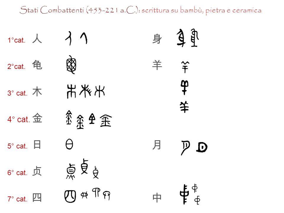 Caratteri su ossa o gusci di tartaruga, epoca Shang Caratteri su bronzi, epoca Shang- Zhou Caratteri su bambù, pietra, ceramica, epoca Stati combattenti Caratteri decorativi, epoca Qin Pittogramma di un albero con i suoi rami e le sue radici