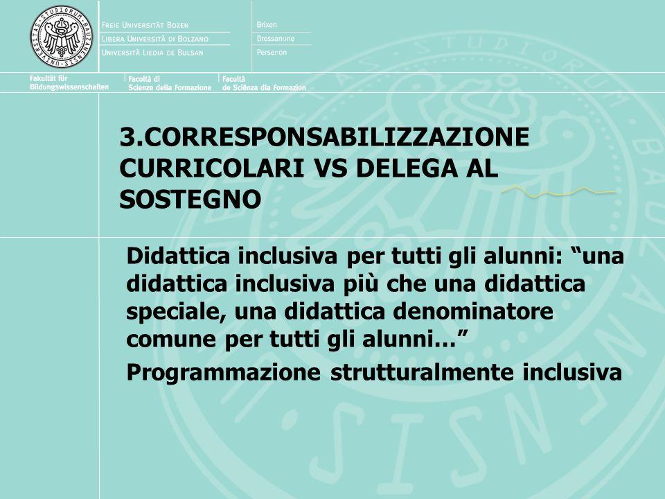 3.CORRESPONSABILIZZAZIONE CURRICOLARI VS DELEGA AL SOSTEGNO Didattica inclusiva per tutti gli alunni: una didattica inclusiva più che una didattica speciale, una didattica denominatore comune per tutti gli alunni… Programmazione strutturalmente inclusiva