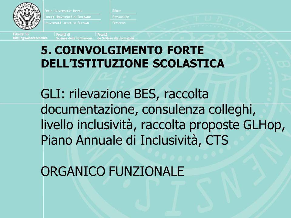 5. COINVOLGIMENTO FORTE DELLISTITUZIONE SCOLASTICA GLI: rilevazione BES, raccolta documentazione, consulenza colleghi, livello inclusività, raccolta p