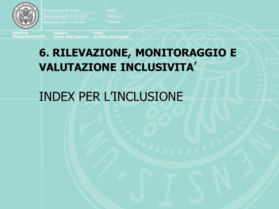 6. RILEVAZIONE, MONITORAGGIO E VALUTAZIONE INCLUSIVITA INDEX PER LINCLUSIONE