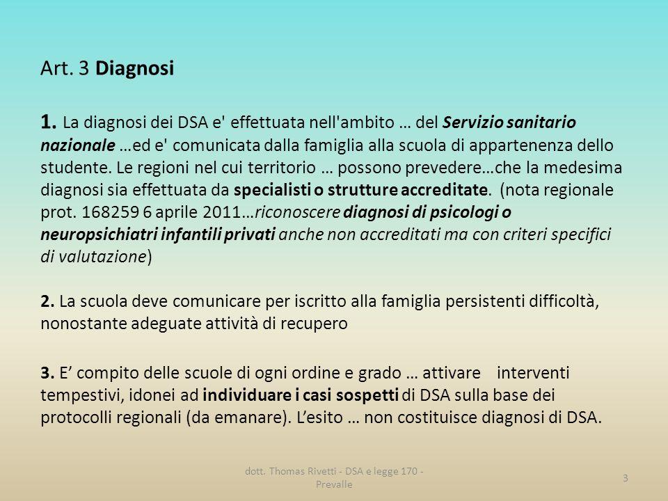 Art. 3 Diagnosi 1. La diagnosi dei DSA e' effettuata nell'ambito … del Servizio sanitario nazionale …ed e' comunicata dalla famiglia alla scuola di ap