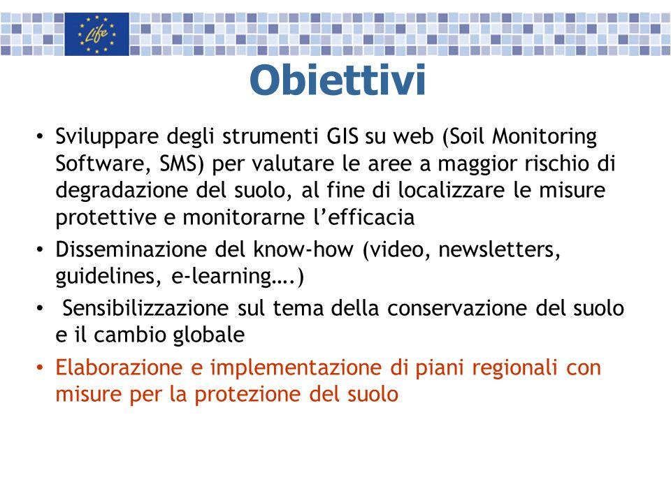 Obiettivi Sviluppare degli strumenti GIS su web (Soil Monitoring Software, SMS) per valutare le aree a maggior rischio di degradazione del suolo, al f